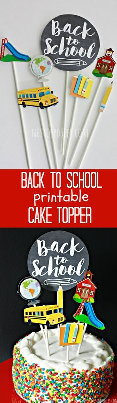 Celebrate the first week of school with these fun cake toppers. Free printable.
