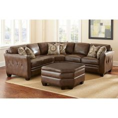 Corrigan Leather Sectional and Ottoman Antique Brown Top Grain Hard Wood Frame