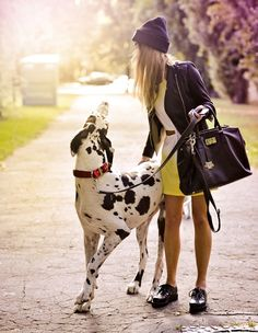I want to be this girl - super stylish and with a great dane