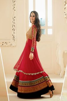 Preity Zinta in Designer Long Anarkali Salwar Kameez Pics 2014 - Vega Fashion Mom