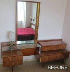 Veneer dressingtable with drawers that barely held everything . . and the long mirrors attached. RETRO