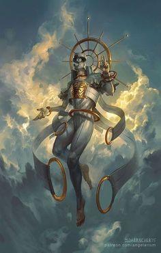 Sahaqiel, Angel of the Sky, Peter Mohrbacher on ArtStation at https://www.artstation.com/artwork/kQKe6