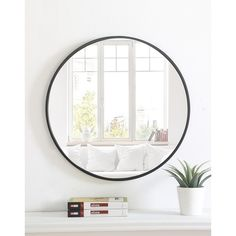 Top Product Reviews for Abbyson Radiance Round Wall Mirror   Overstock.com   15588665 Mirror With Hooks, Round Wall Mirror, Wall Mounted Mirror, Round Mirrors, Mirror Shapes, Thing 1, Home Decor Outlet, Modern Contemporary, Modern Wall
