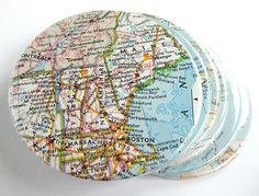 ~ Coasters..Map wrapping- paper...Scissors...ModPodge (glue/sealer)...File folder or cardboard template.
