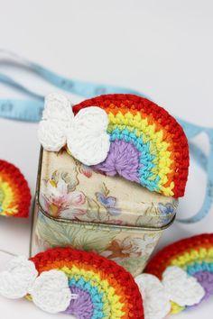 Crochetar Arco-íris Apliques Artesanato -  /  Crochet Rainbows Appliques Crafts -