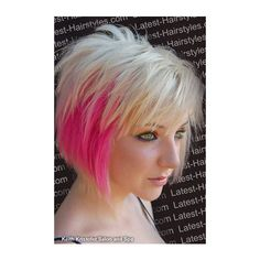 Short Punk Hair With Pink Tips found on Polyvore