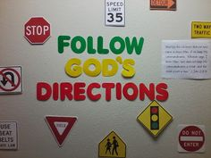 Follow God's Directions 1 John 2:3-4 bulletin board Road Bulletin Board, Jesus Bulletin Boards, Religious Bulletin Boards, Summer Bulletin Boards, Christian Bulletin Boards, Preschool Bulletin Boards, Sunday School Classroom, Sunday School Rooms, Sunday School Lessons