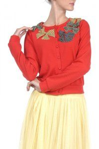 Tomato Red Cardigan with Multi Colored Bows - $49; Yellow Tulle Skirt - $49 Both are Limited Quantities!