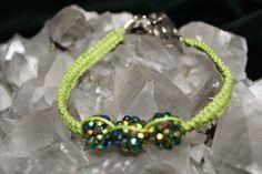Beautiful Green Handmade Hemp Bracelet w/3 sparkle balls and metal closure #Handmade