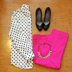 polka dot shirt, pink pants, add emerald green somehow