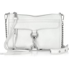 Rebecca Minkoff MINI MAC Clutch in White with Shiny Silver Hardware ($195) ❤ liked on Polyvore