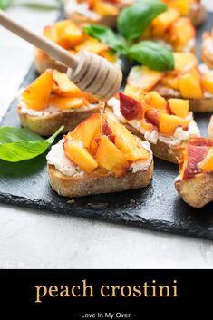 Peach Appetizer, Fruit Appetizers, Bite Size Appetizers, Best Appetizer Recipes, Best Appetizers, Snack Recipes, Cooking Recipes, Appetizers For Summer, Grill Appetizers