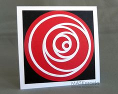 Made with Nestabilities circle diecuts, arranged to look like a rose.  You could make cards using all different sorts of geometric die cut outlines.