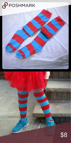 Fun, crazy Socks Halloween Costume 2015... THING 1. Red and blue stripped socks. My daughter was 8 at the time and the socks went up to her thighs. I have the T-shirt and Tutu also. The pieces to this costume were bought separately, but I will bundle. I answer all questions...More to come. Thanks for looking. Accessories Socks & Tights