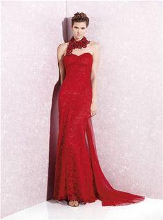 Vestido de fiesta rojo de Yolancris. Colección primavera-verano 2013 -- Mujerhoy.com --