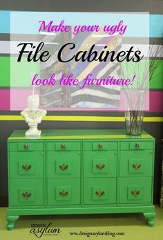 Make your ugly file cabinets look like a piece of furniture with this easy DIY project!  www.designasylumblog.com
