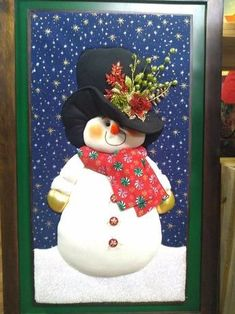 Christmas Snowman, Christmas Crafts, Xmas, Christmas Ornaments, Holiday Door Decorations, Christmas Sewing Projects, Christmas Embroidery, Quilted Wall Hangings, Winter Fun