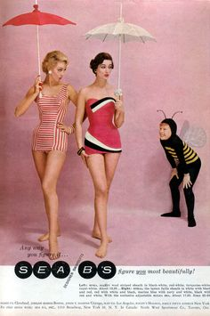 Swimsuit from Glamour Magazine, 1957----Why the hell is the little boy in the bee costume there?