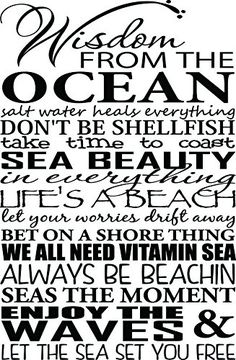 Amazon.com - Wall Decal Wisdom from the ocean salt water heals everything don't be shellfish take time to coast sea beauty in everything life's a beach let your worries drift away bet on a shore thing we all need vitamin sea always be beachin seas the moment enjoy the waves and let the sea set you free. Vinyl Wall Decal Decor Quotes Sayings Inspirational wall Art -