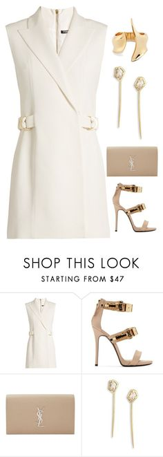 """V"" by assema123 ❤️ liked on Polyvore featuring Balmain, Giuseppe Zanotti, Yves Saint Laurent and Alexis Bittar"