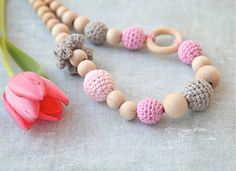Crochet wooden beads nursing necklace in pink and grey. by nihamaj