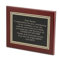 "Personalized 8"" X 10"" Mahogany Plaque , Add Your Message"