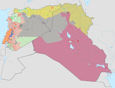ISIS/Islamic State of Iraq and the Levant  Areas of control as of Nov. 25, 2016 in the Syrian, Iraqi, and Lebanese conflicts