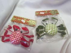 Vintage Retro Sand Crab green red Gingham Checked Christmas Ornament Set JAPAN