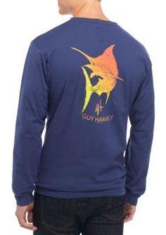 c39650430 Guy Harvey Men's Long Sleeve Marlin Scribble Graphic Tee Scribble, Deep  Blue, Graphic Tees