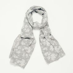 LADIES ELEGANT PALE GREY WITH WHITE FLORAL  MIX  PRINT SCARF WRAP SHAWL PASHMINA