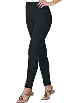 Petite leggings in stretch cotton knit | Plus Size Petite Pants | Woman Within