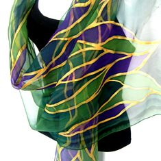 Hand Painted Silk Scarf Abstract Leaves Forest Green by silkshop