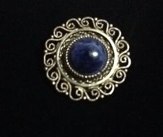 Brooch, Pin, Marked Made in Israel 925,Goldtone,with a blue stone vintage