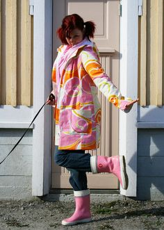 May Day coat and my pink wellies by Vilman, via Flickr