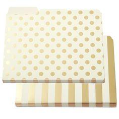 Kate Spade Gold Dot & Stripe File Folders Set of 12