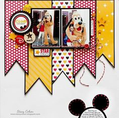 Good ideas to scrapbook our Disney trips! Use scrap pieces! Ideas Scrapbook, Scrapbook Bebe, Scrapbook Expo, Disney Scrapbook Pages, Scrapbook Sketches, Scrapbook Page Layouts, Scrapbook Paper Crafts, Scrapbook Cards, Birthday Scrapbook
