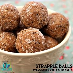 Join us  Strapple Balls? Yeah I know. Crazy name but memorable? Hmmm maybe not. Feel free to just call them Strawberry Apple Bliss Balls if you like. Regardles