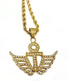 c938c9783635 Amazon.com  18k Gold Plated Ankh Cross with Angel Wings Pendant Stainless  Steel Necklace with 24