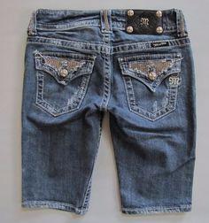 Miss Me Bermuda Shorts 25 Denim Cropped Jean Bling Thick Stitch Medium Distress  #MissMe #Denim
