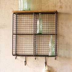 Wire Mesh Cubbies with Wood Top | dotandbo.com