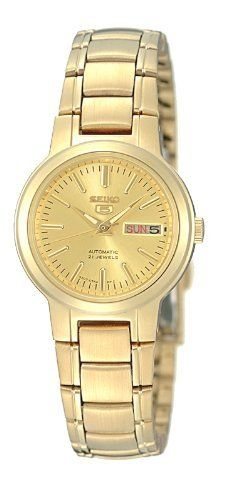 Seiko Women's SYME46 Seiko 5 Automatic Gold-Tone Stainless-Steel Bracelet Watch Seiko. $81.55. 3-hands. Automatic. 3-fold clasp; stainless steel case and band. Water-resistant to 30 M (99 feet). Day/date. Save 64%!