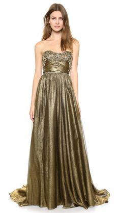 Marchesa Блестящее шифоновое вечернее платье