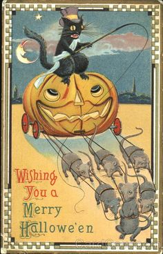 A cat riding a jack o lantern pulled by mice.......cuz, why not?