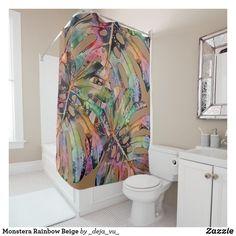 Monstera Rainbow Beige Shower Curtain Peach Shower Curtain, Black Shower Curtains, White Shower, Rainbow, Shower Gifts, Shower Ideas, Bathroom, Creative, Beige