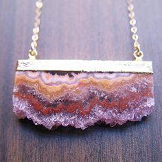 Pretty geode necklaces -- Amethyst Stalactite Druzy Necklace 14k Gold. $79.00, via Etsy.