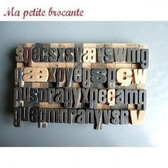 Lot de 54 lettres caractères typographie imprimerie bois Coffee, Architecture, Vintage, Characters, Wood Letters, Printing, Letterpress Printing, Livres, Drawing Drawing