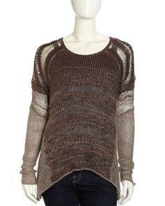 Textured+Gauzy+Knit+Scoop-Neck+Sweater,+Brown+by+Helmut+Lang+at+Neiman+Marcus+Last+Call.