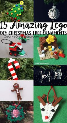 15 Awesome LEGO Christmas Ornaments : These are the best DIY Lego Christmas ornaments! Each of these projects comes with instructions for how to build them, which makes building Xmas tree decorations easy for kids. Building Lego Christmas ornaments is the Christmas Tree Decorations For Kids, Lego Christmas Ornaments, Christmas Party Games, Kids Christmas, Holiday Fun, Christmas Crafts, Christmas Trees, Legos, Lego Hacks