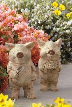 Adorable Little Garden Pig Statues.