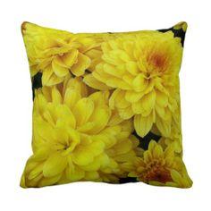 Yellow Mums Throw Pillow #flowers #pillows